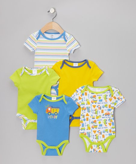 Blue 'Tuff Stuff' Watch-Me-Grow Bodysuit Set