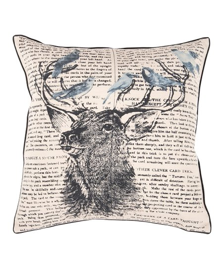 Khaki &amp; Coal Stag Typography Pillow