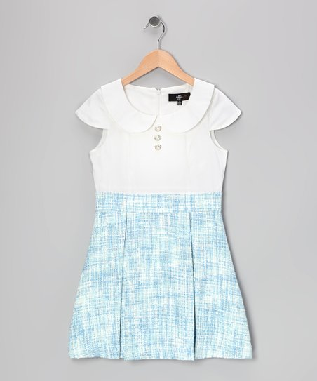 Blue & White Tweed Chloe Dress - Girls