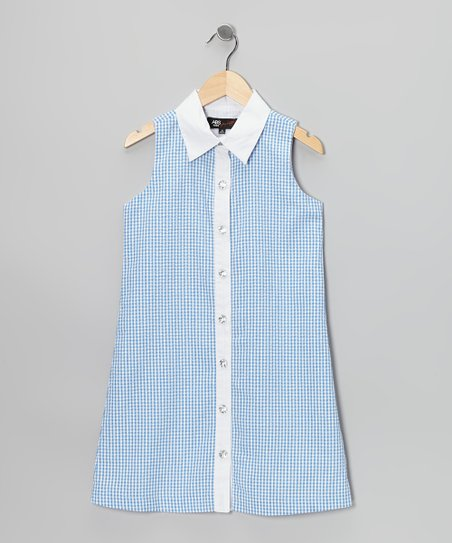 Blue & White Gingham Sarah Dress - Girls