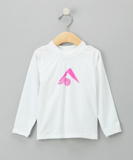 White & Pink Keri Rashguard - Toddler & Girls