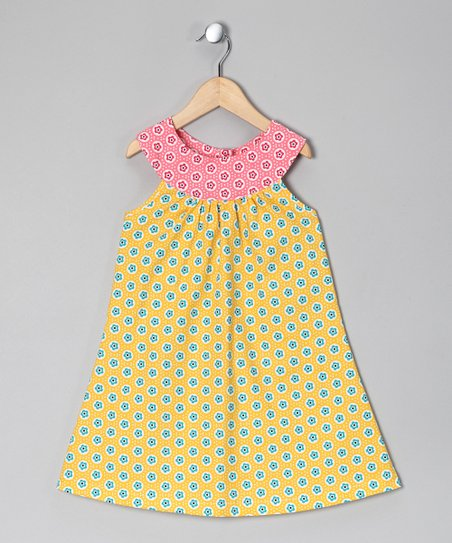 Yellow & Pink Floral Yoke Dress - Toddler & Girls
