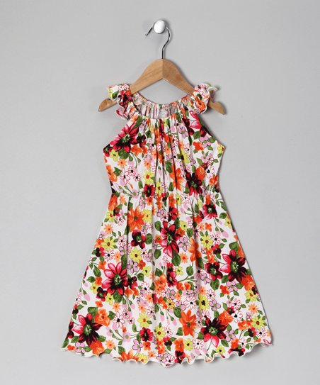 White & Orange Floral Angel-Sleeve Dress - Toddler & Girls