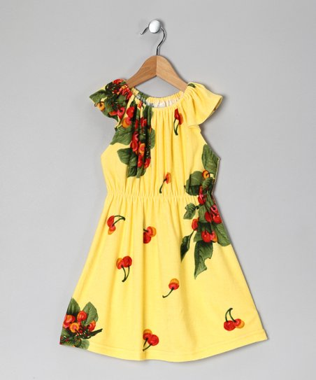 Yellow Cherry Cap-Sleeve Dress - Toddler & Girls
