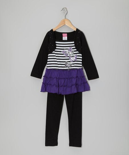 Black & Purple Butterfly Layered Tunic & Leggings - Infant & Toddler