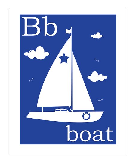 Primary Blue 'B is for Boat' Giclée Print