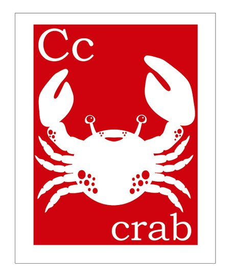 Red &#039;C is for Crab&#039; Print