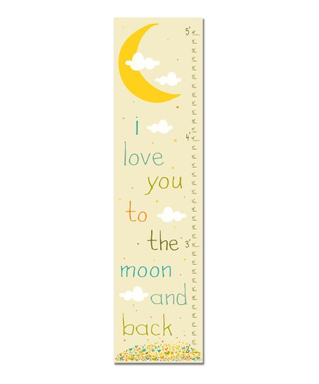 Blue Retro 'I Love You to the Moon' Growth Chart