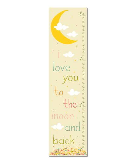 Pink Retro &#039;I Love You to the Moon&#039; Growth Chart