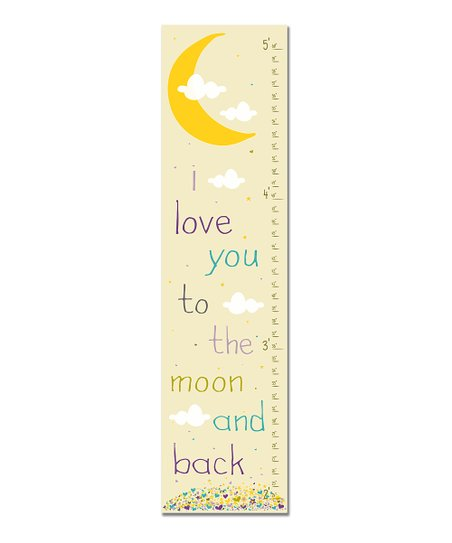Purple Retro &#039;I Love You to the Moon&#039; Growth Chart
