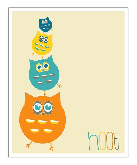 Cream &amp; Orange &#039;Hoot&#039; Gicle Print