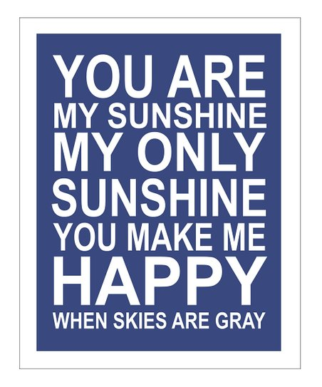 Navy &#039;You Are My Sunshine&#039; Gicle Print