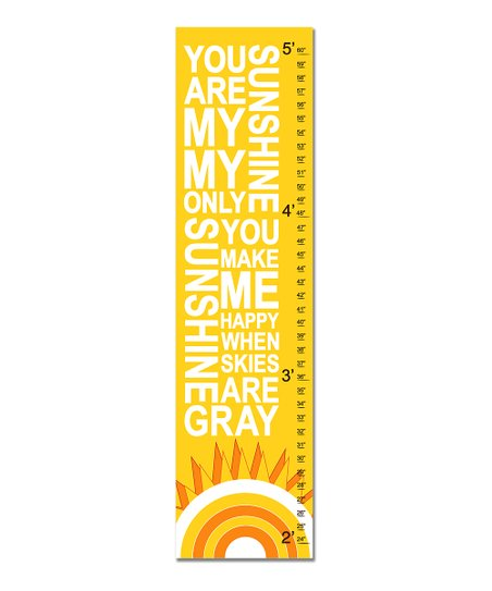 Yellow Retro &#039;You Are My Sunshine&#039; Growth Chart