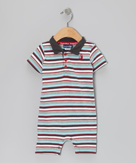 Blue & Gray Stripe Polo Romper - Infant