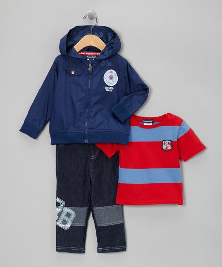 Blue Rugged League Zip-Up Jacket Set
