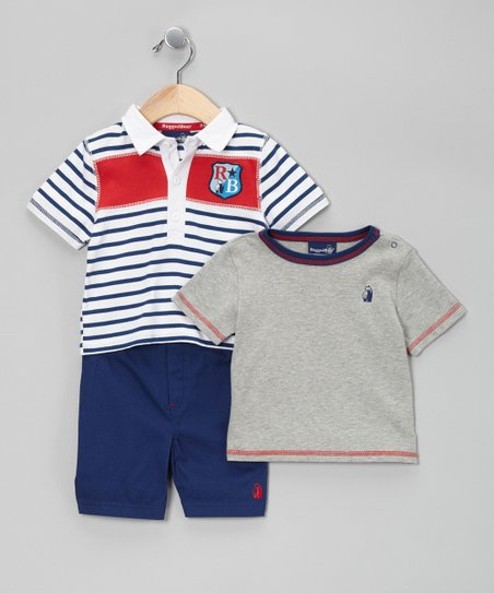 White & Navy Star Crest Polo Set - Infant