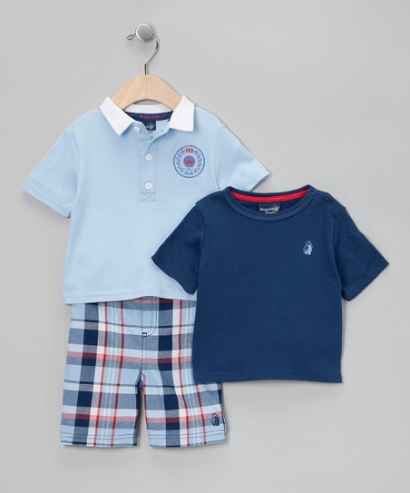 Light Blue Laurel Crest Polo Set - Infant