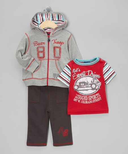 Gray Bear Troop Zip-Up Jacket Set - Infant