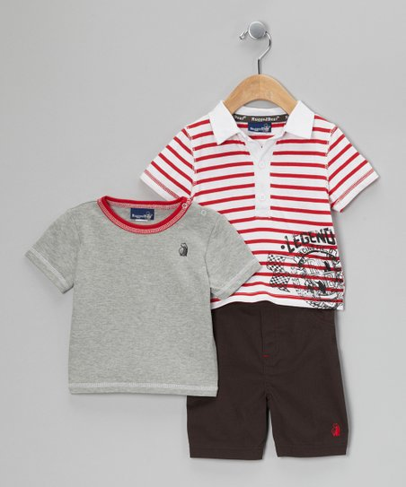 Red & White Stripe Legend Polo Set - Infant