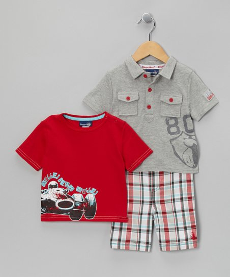 Gray Button Pocket Polo Set - Infant