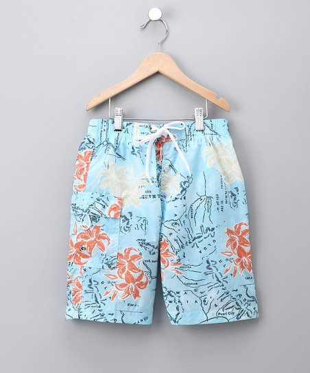 Blue Map Swim Trunks - Boys