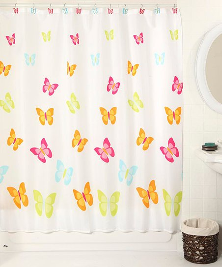 Spring Butterfly Shower Curtain & Hook Set