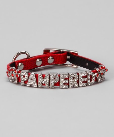 Red 'Pampered' Bling Collar