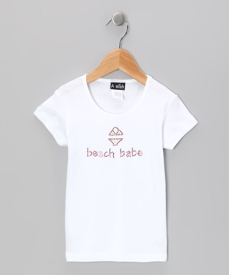 White 'Beach Babe' Tee - Toddler & Girls
