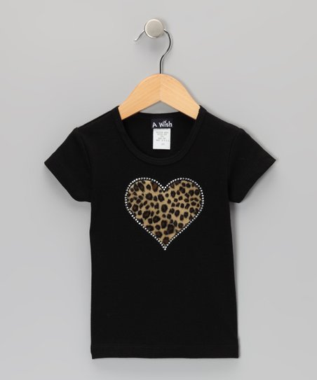 Black Leopard Heart Tee - Toddler & Girls