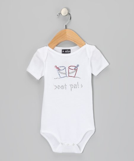 White Rhinestone 'best pals' Bodysuit - Infant