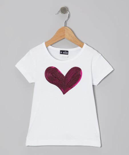 White & Fuchsia Sequin Heart Tee - Toddler & Girls