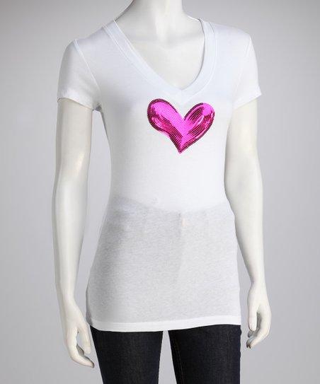 White & Fuchsia Sequin Heart Tee – Women