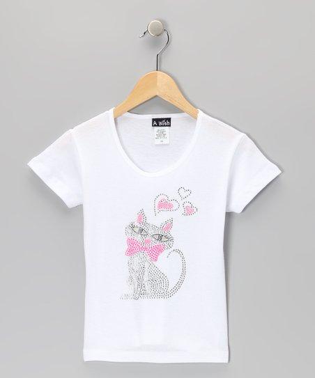 White Sequin Heart Cat Tee – Toddler & Girls