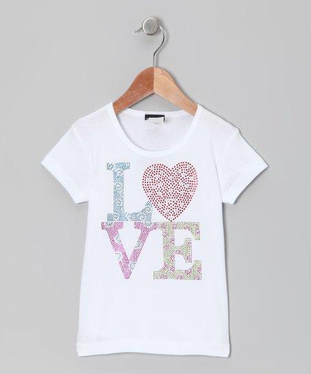 White 'Love' Tee – Toddler & Girls