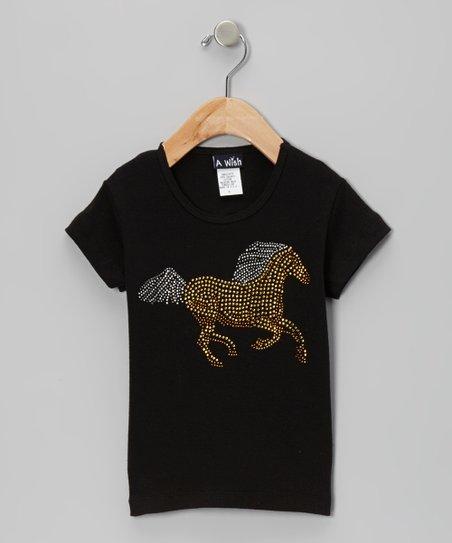 Black Galloping Horse Tee – Toddler & Girls