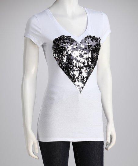 White & Pewter Sequin Heart Tee – Women