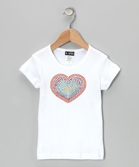 White Rainbow Heart Tee – Toddler & Girls