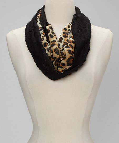Brown & Black Leopard Lace Infinity Scarf