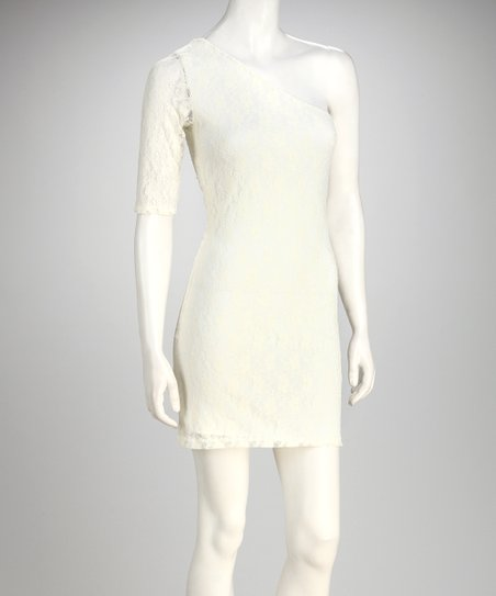 Ivory Lace Asymmetrical Dress