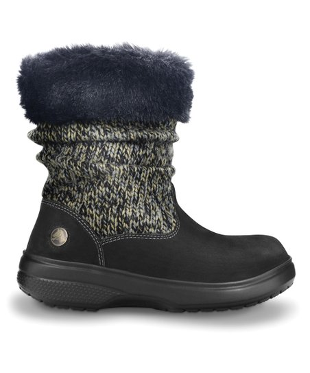 Charcoal & Black Cozy Crocs Boot - Women