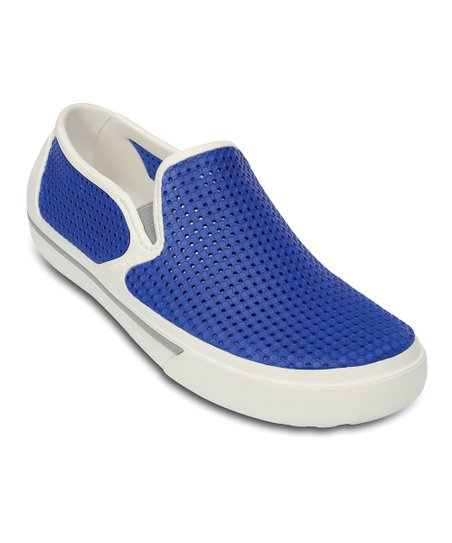 White & Sea Blue CrosMesh Summer Slip-On Shoe - Men