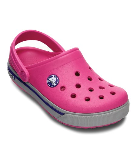 Fuchsia & Light Gray Crocband™ II.5 Clog - Kids