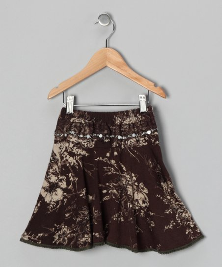 Brown Floral Skirt - Girls