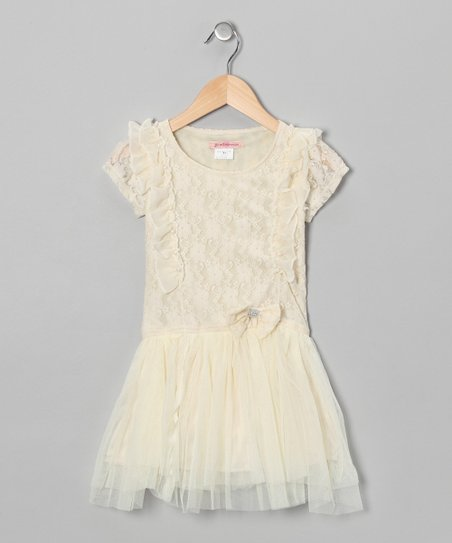 Ivory Lace Ruffle Dress - Toddler & Girls