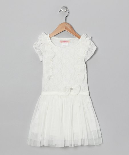 White Lace Ruffle Dress - Toddler & Girls