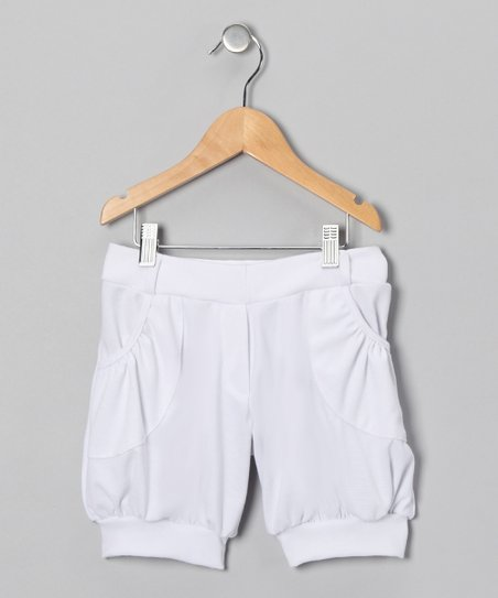 White Cuffed Shorts - Girls