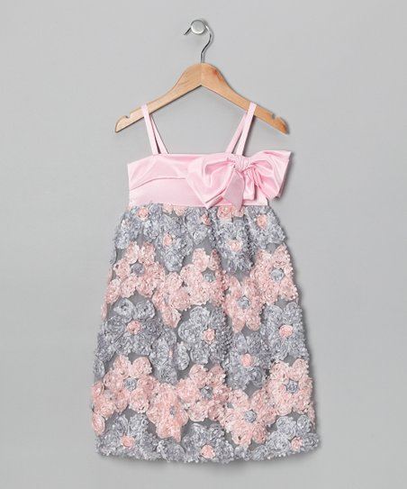 Pink Bow Rosette Dress - Girls