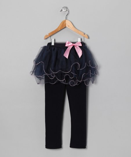 Navy Skirted Leggings - Toddler