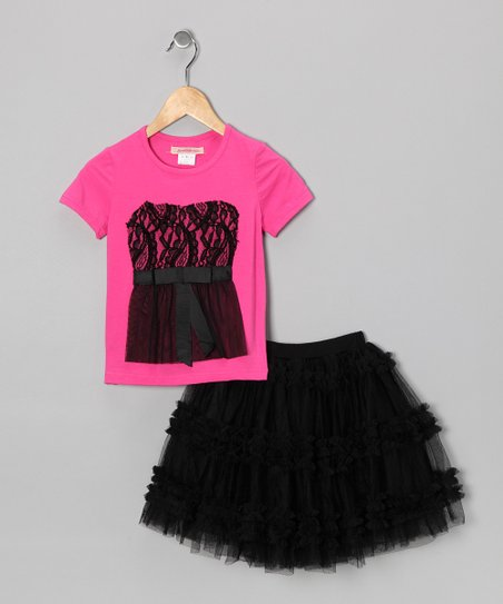 Fuchsia Lace Tee & Black Ruffle Tulle Skirt - Toddler & Girls