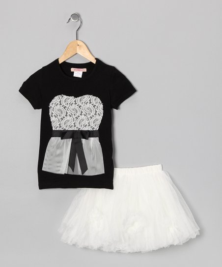 Black Lace Tee & White Tulle Skirt - Toddler & Girls